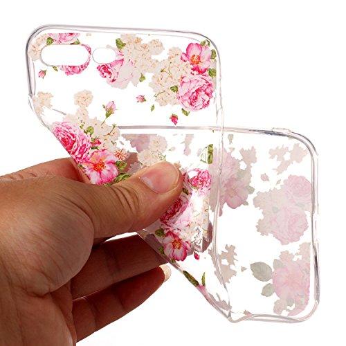iPhone 7 Plus Coque Belle fleur Premium Gel TPU Souple Silicone Transparent Clair Bumper Protection Housse Arrière Étui Pour Apple iPhone 7 Plus + Deux cadeau