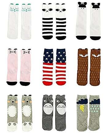 Gellwhu Baby Girls Boys Cotton Animal Cartoon Knee High Socks Stockings 9 Pairs (L(4-6 Year), Set A)