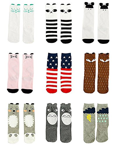 Gellwhu Baby Girls Boys Cotton Animal Cartoon Knee High Socks Stockings 9 Pairs (M(1-3 Year), Set (Baby Spice Shoes)