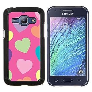 Dragon Case - FOR Samsung Galaxy J1 J100 J100H - heart green pattern orange purple - Caja protectora de pl??stico duro de la cubierta Dise?¡Ào Slim Fit