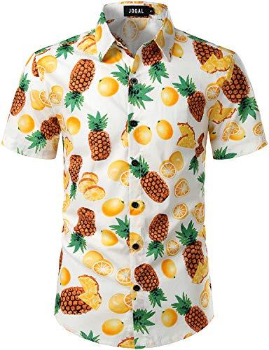 (JOGAL Men's Cotton Button Down Short Sleeve Hawaiian Shirt (White Orange Pineapple, Small))