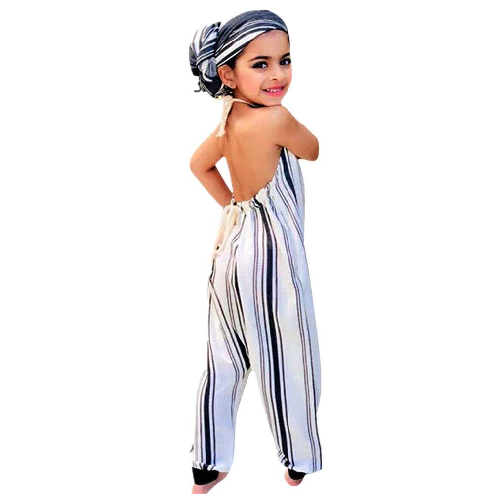 a8827e7e811 Amazon.com  Hatoys Cute Striped Backless Halter Romper