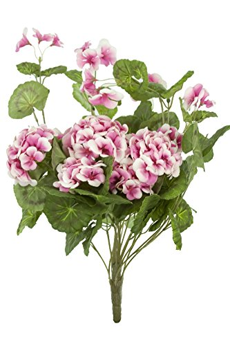 "Renaissance 2000 Geranium Hanging Bush, 14.5"" L x 1"" H x 14.5"" W, Cream/Pink"