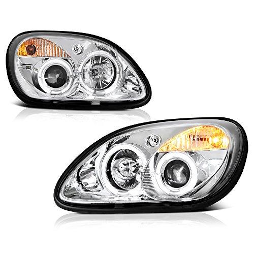 [For 1998-2004 Mercedes-Benz R170 SLK-Class Halogen Model] LED Halo Ring Chrome Housing Projector Headlight Headlamp Assembly, Driver & Passenger - Headlamp Rings Chrome