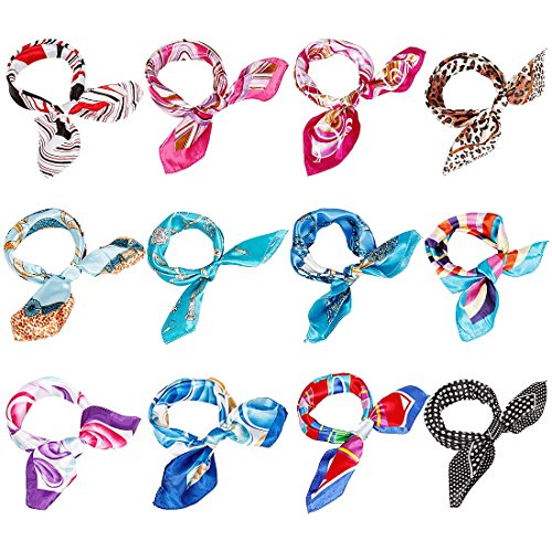 BMC 12pc Women's Silky Scarf Square Mixed Pattern & Colors Fashion Accessory Set - Various Packs