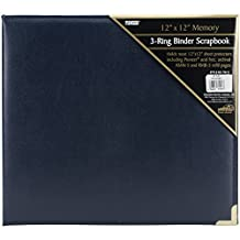 Pioneer Photo Albums 12 x 12-Inch 3-Ring Sewn Oxford Cover Scrapbook Binder, Navy Blue