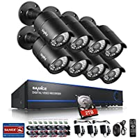 Sannce 1080P 8CH Video Security System with 2TB Hard Drive + 8HD 19201080p CCTV Bullet Cameras (IP66 Weatherproof Metal Housing, 100ft IR LED Night Vision, Motion Detection)