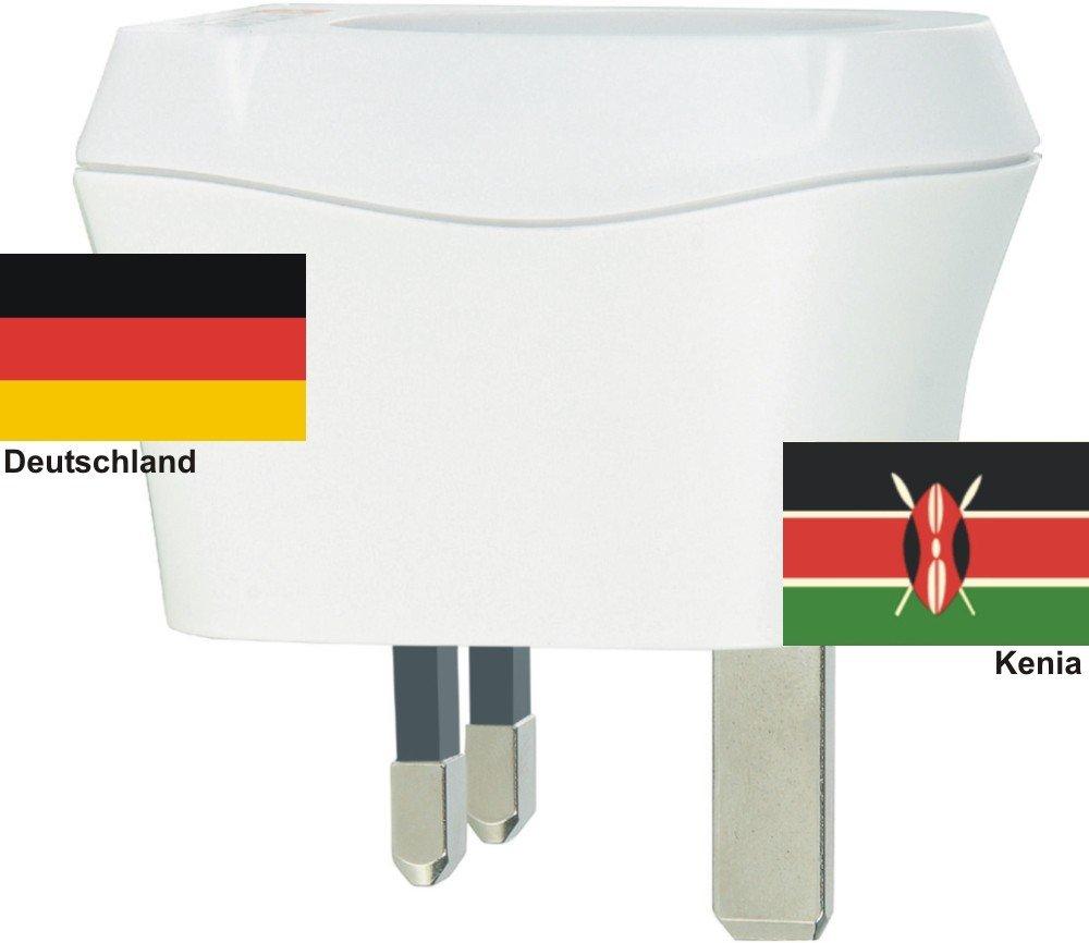 Design Reisestecker Adapter Kenia auf Deutschland, Schukostecker 230V,Umwandlungsstecker KE-D Reise-net