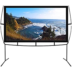 "Portable Projector Screen with Stand, Indoor and Outdoor Movie Screen 100"" Diagonal 16:9 with Wrinkle-Free Design (Easy to Clean, 1.1 Gain, 160° Viewing Angle and Includes a Carry Bag)"