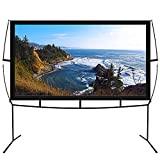 Portable Projector Screen with Stand, Indoor and Outdoor Movie Screen 100'' Diagonal 16:9 with Wrinkle-Free Design (Easy to Clean, 1.1 Gain, 160° Viewing Angle and Includes a Carry Bag)