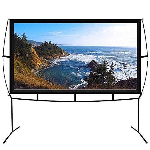 Portable Projector Screen with Stand, Indoor and Outdoor Movie Screen 100'' Diagonal 16:9 with Wrinkle-Free Design (Easy to Clean, 1.1 Gain, 160° Viewing Angle and Includes a Carry Bag) by Blina