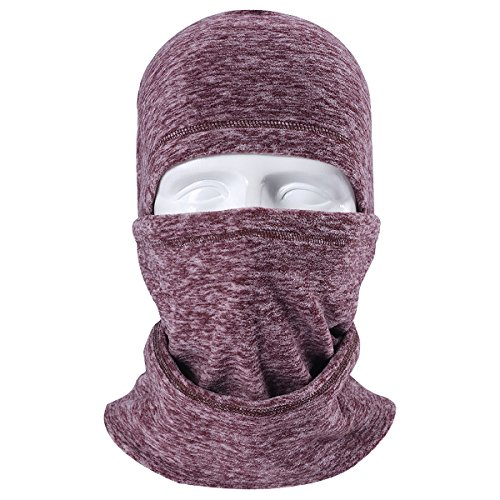 JIUSY Multifunctional Fleece Hood Balaclava Windproof Neck Warmer Face Mask Adjustable with Drawstring for Ski Snowboard Hunting Motorcycle Cycling Cold Weather Winter Outdoor Sports Brown
