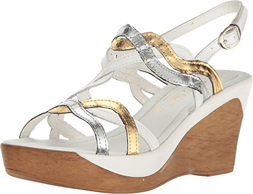 David Tate Women's Alto White Multi Leather Sandal