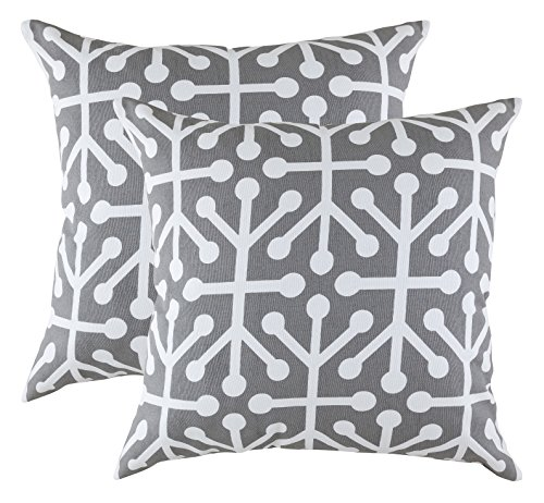 TreeWool Decorative Square Throw Pillow Covers Set Octaline Accent 100% Cotton Cushion Cases Pillowcases (18 x 18 Inches / 45 x 45 cm; Graphite Grey & White) - Pack of 2