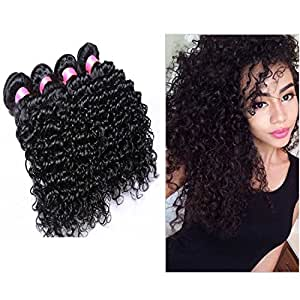 "Dream Virgin Hair Grade 5A Remy Curly Weave Human Hair Extensions Indian Hair 4 Bundles Virgin Hair 100% Unprocessed Deep Curly Weave Natural Black Color Mixed Length 12"" 12"" 14"" 14"" Pack of 4 Bundles 400 Grams"