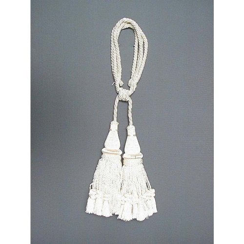 India House 79593 Jhalar Tieback with 10-Inch Double Tassel and 36-Inch Cord, Ivory