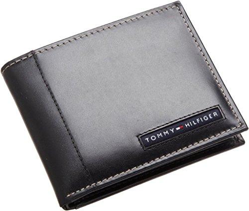 TOMMY HILFIGER MEN'S LEATHER CREDIT CARD ID WALLET Cambridge Passcase Wallet BK