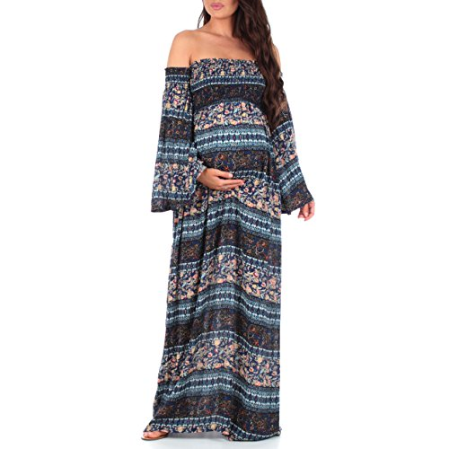 Women's Cold Shoulder Bell Sleeve Maternity Dress with Ruching in Regular and Plus Sizes Navy
