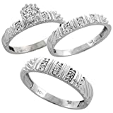 10k White Gold Diamond Trio Wedding Ring Set 3-piece His & Hers 5 & 3.5 mm 0.14 cttw, Ladies Size 7