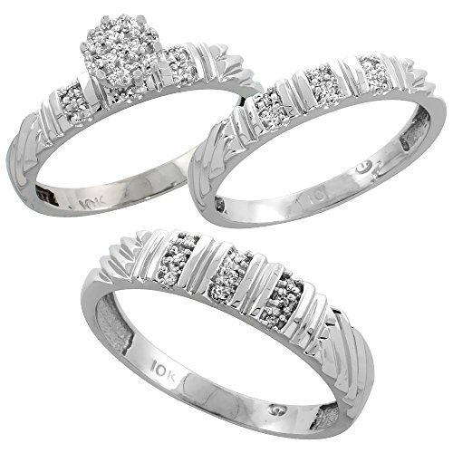 10k White Gold Diamond Trio Wedding Ring Set 3-piece His & Hers 5 & 3.5 mm 0.14 cttw, Ladies Size 8.5