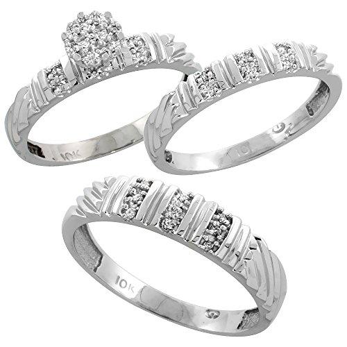 White Gold Diamond Wedding 3 piece