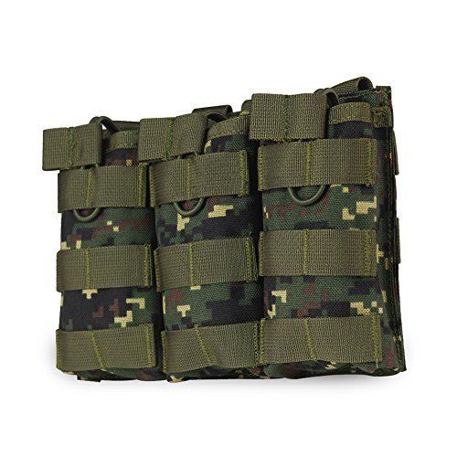 OUTRY M4 M16 AR15 Magazine Pouch - Open Top Mag Holder - Triple / Double / Single Airsoft MOLLE Mag Pouch (4 Colors available) - Triple - Digital Camo