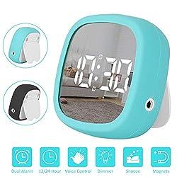 Sanlinkee Digital Travel Alarm Clock,LED Display Adjustable Brightness Desk Clock with Dual Alarm Clock and Snooze,Simple Basic Operation(Black/Blue)