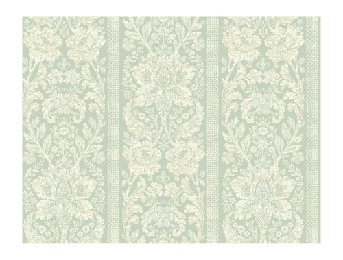 York Wallcoverings KC1839SMP French Dressing Floral Damask Stripe 8-Inch x 10-Inch Wallpaper Memo Sample, Sea Foam Green/Sand/Ivory