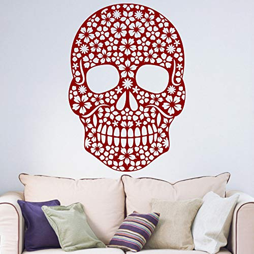 Pikat Vinyl Removable Wall Stickers Mural Decal Art Family Decals Room Skull Floral Sugar Candy Day of The Dead Halloween ()