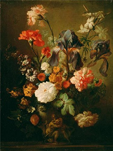 Taupe Electric Wall Sconce (Oil Painting 'Dutch Vase Of Flowers,By Jan Van Huysum', 18 x 24 inch / 46 x 61 cm , on High Definition HD canvas prints is for Gifts And Foyer, Laundry Room And Powder Room Decoration)