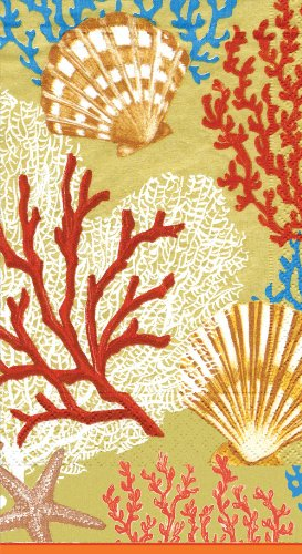 Caspari-Servilletas-de-papel-15-unidades-diseo-de-conchas-y-algas-color-dorado