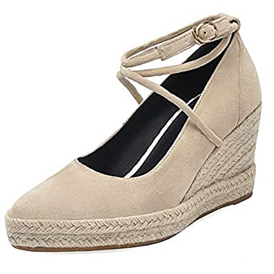 AbbyAnne Women Fashion Spring Shoes Ankle Strap Wedge Heels Pumps Party Heels Shoes Pointed Toe Weaving Beige Size 33