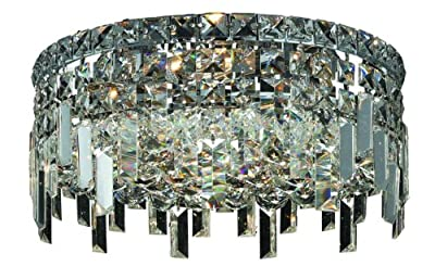 Elegant Lighting 2031F14C/RC Maxim 7-Inch High 4-Light Flush Mount, Chrome Finish with Crystal (Clear) Royal Cut RC Crystal