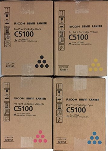 WCI© Best Value Pack® of All (4) Genuine Original Ricoh Brand C5100S/C5110S Toner Cartridges. (1 each of Black/Cyan/Magenta/Yellow) for: Ricoh PRO C5100/C5100S/C5110/C5110S Series. by Ricoh