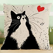 """Lyn Cotton Linen Square Throw Pillow Case Decorative Cushion Cover Pillowcase for Sofa 18 """"X 18 """" Black and white cat (3)"""