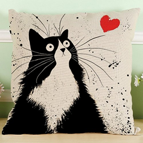 LYN Cotton Linen Square Throw Pillow Case Decorative Cushion Cover Pillowcase for Sofa 18quotX 18quot Black and White cat 3