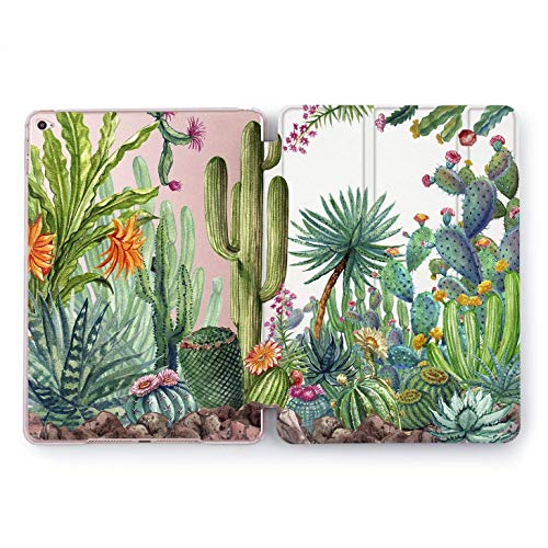 Wonder Wild iPad Exotic Case 9.7 6th 5th Generation Smart Cover iPad Pro 9.7 inch Case Clear Auto Wake Sleep Hard 2018 2017   A1822 A1823 A1893 A1954 A1673 A1674 A1675   Cactus Green Design Watercolor ()
