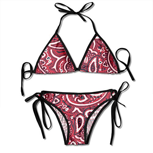 (Womens Sexy Padded Bikinis Swimsuits Bathing Suits Paisley Bandana Red Triangle Halter Two Piece Swimsuit Bikini)