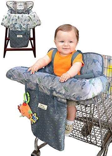 Blue Dino Baby Shnookums 2 in 1 High Chair Cover and Shopping Cart Cover Universal Fit Shopping Cart or High Chair Cover for Baby and Toddlers Storage Pouch Included