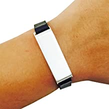Fitbit Bracelet for FitBit Flex Fitness Activity Trackers - The KATE Single-Strap Brushed Metal and Premium Vegan or Genuine Leather Buckle Fitbit Bracelet