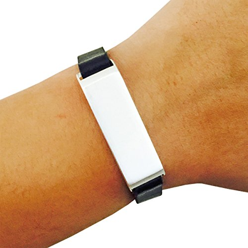 Fitbit Bracelet for FitBit Flex Fitness Trackers - The KATE Single-Strap Brushed Metal and Premium Vegan Leather Buckle Fitbit Bracelet - Alternative to Tory Burch Fitbit (Black and Silver, ()