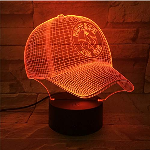 KLSOO 3D Led Lamp Bedside Red Sox Baseball Cup Touch Color Changing Children Kids Gift USB Night Light Decor