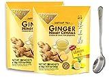 Instant Lemon Ginger Honey Crystals 19oz/540g (30 sachets) With FREE Gift Logo Steel Fork (2-Pack)