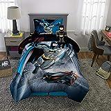 DC Comics Batman Soft Microfiber Comforter, Sheets and Plush Cuddle Pillow Bedding Set, Twin Size 5 Piece Bundle Pack
