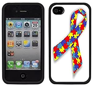 Autism Ribbon Support Handmade iPhone 4 4S Black Case