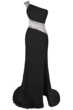 Victoria Prom Womens One Shoulder Beaded Prom Dress Evening Party Gowns Side Split Black us2