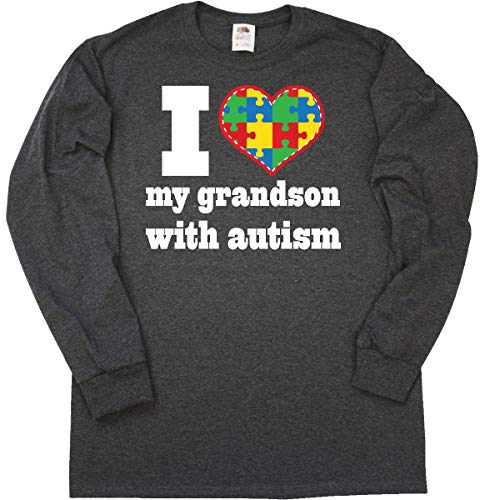- inktastic - Autism Grandson Long Sleeve T-Shirt Large Retro Heather Black 21c72