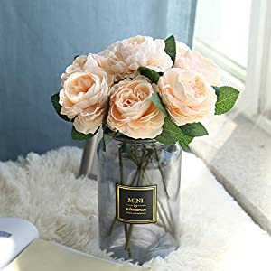 Rm.Baby 1Pcs Artificial Fake Flowers Rose Peony Floral Real Touch Cloth Material Arrangement Bouquets Bridal Hydrangea Home Garden Decor Room Office Centerpiece Party Wedding Decor 7