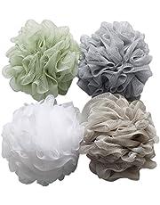 Esponja de baño para la ducha 4 unidades de 60g cada una, esponja puf de malla lufa para el baño