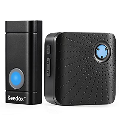 Keedox Wireless Doorbell Kit with One Remote Button Operating at 500-1000 ft Range,52 Chimes, 4 Level Volume, LED Indicator,Plug-In AC Receiver[1 Transmitter 1 Receiver]